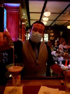 Justin at Halls pouring a martini